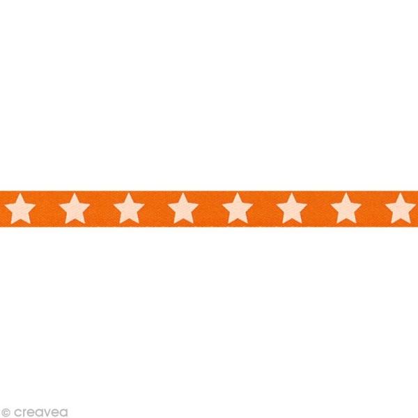 Ruban satin étoile - 9 mm - Orange - Au mètre (sur mesure) - Photo n°1