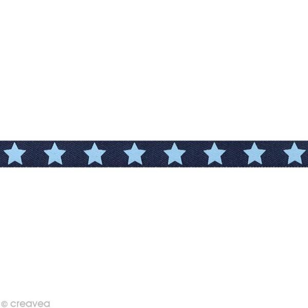 Ruban satin étoile - 9 mm - Bleu marine - Au mètre (sur mesure) - Photo n°1