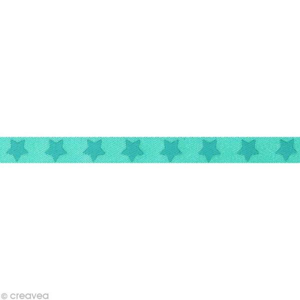 Ruban satin étoile - 9 mm - Bleu clair - Au mètre (sur mesure) - Photo n°1