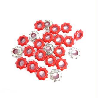 20 Oeillets fleurs rouges couture vêtements scrapbooking