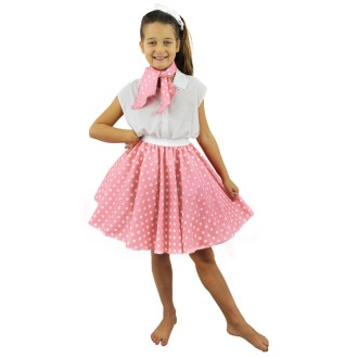 Jupe et foulard fille roses à pois blancs 45 cm - 5/11 ans