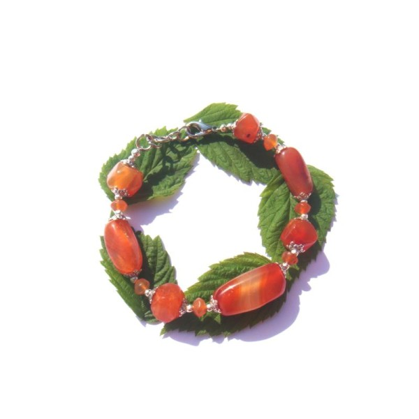 Gaieté et Dynamisme : Bracelet Cornaline 18 Cm à 19,7 CM de tour de poignet - Photo n°3