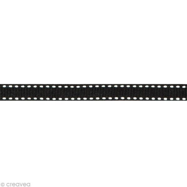 Ruban gros grain surpiqué - 10 mm - Noir - Au mètre (sur mesure) - Photo n°1