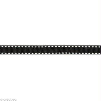 Ruban gros grain surpiqué - 10 mm - Noir - Au mètre (sur mesure)