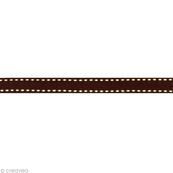 Ruban gros grain surpiqué - 10 mm - Marron - Au mètre (sur mesure) - Photo n°1