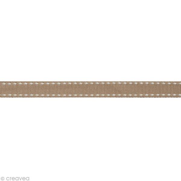 Ruban gros grain surpiqué - 10 mm - Beige taupe - Au mètre (sur mesure) - Photo n°1