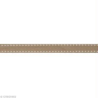 Ruban gros grain surpiqué - 10 mm - Beige taupe - Au mètre (sur mesure)