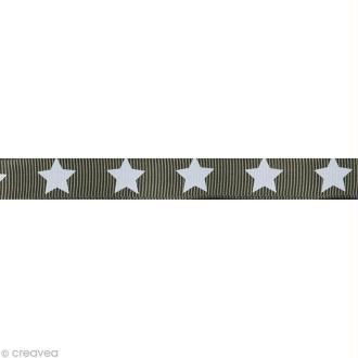 Ruban gros grain étoile - 16 mm - Gris - Au mètre (sur mesure)
