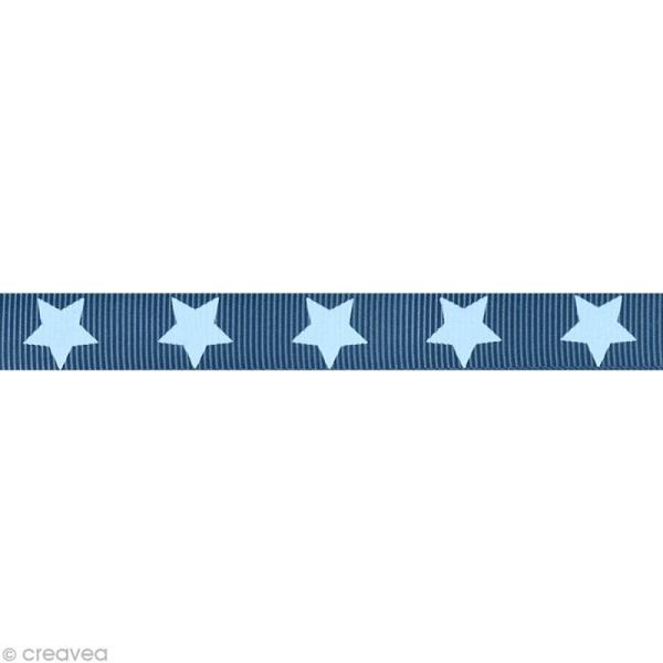 Ruban gros grain étoile - 16 mm - Bleu gris - Au mètre (sur mesure) - Photo n°1