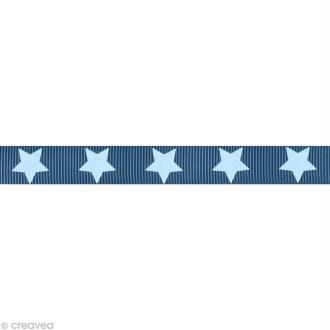 Ruban gros grain étoile - 16 mm - Bleu gris - Au mètre (sur mesure)