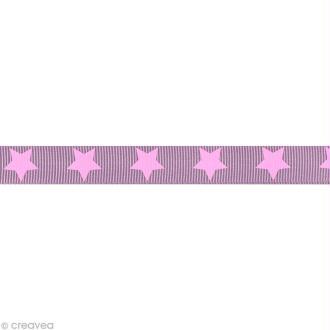 Ruban gros grain étoile - 16 mm - Rose pâle - Au mètre (sur mesure)