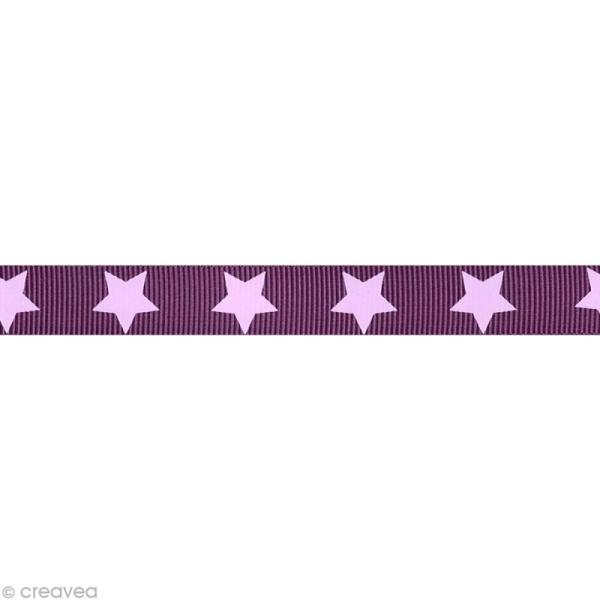 Ruban gros grain étoile - 16 mm - Violet figue - Au mètre (sur mesure) - Photo n°1