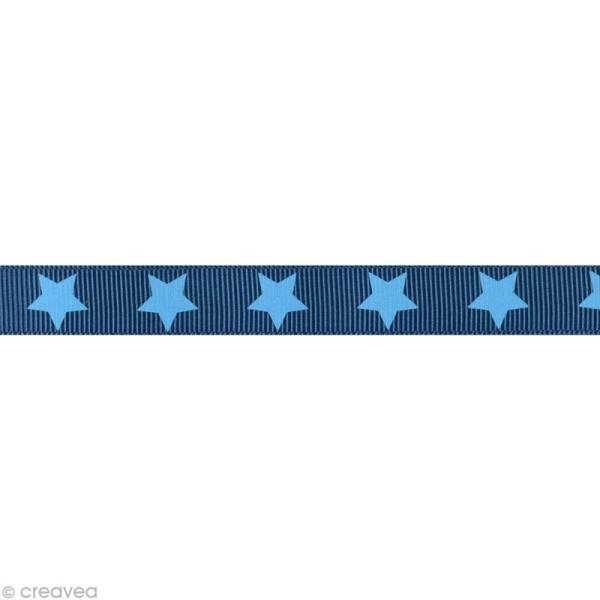 Ruban gros grain étoile - 16 mm - Bleu foncé - Au mètre (sur mesure) - Photo n°1