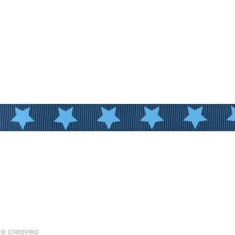 Ruban gros grain étoile - 16 mm - Bleu foncé - Au mètre (sur mesure)