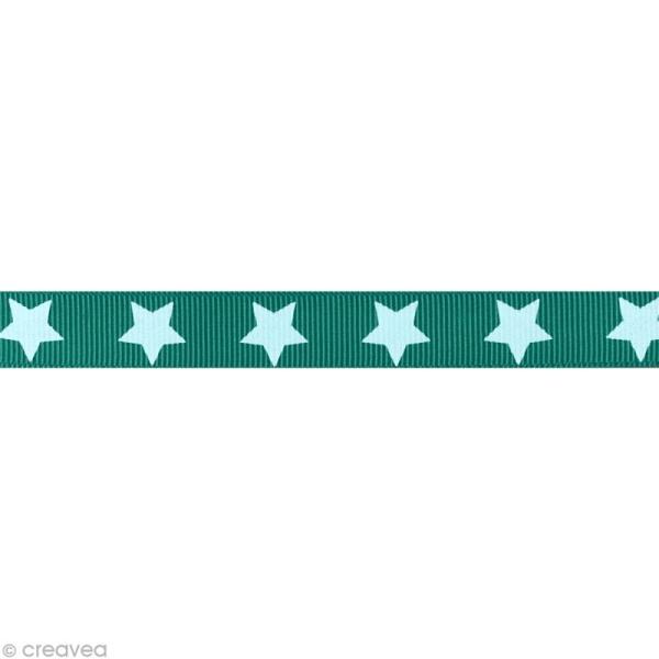 Ruban gros grain étoile - 16 mm - Vert turquoise - Au mètre (sur mesure) - Photo n°1