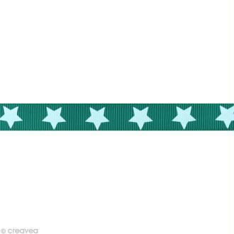 Ruban gros grain étoile - 16 mm - Vert turquoise - Au mètre (sur mesure)
