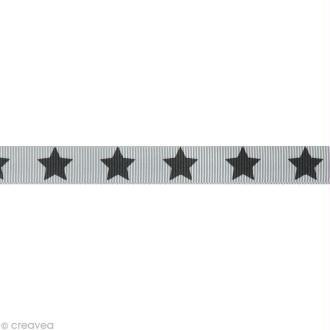 Ruban gros grain étoile - 16 mm - Gris pâle - Au mètre (sur mesure)