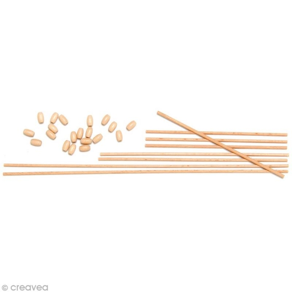 Kit tiges à mobile - 8 tiges en bois et 20 olives - Photo n°1