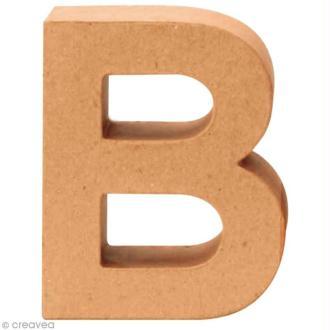 Lettre en carton B qui tient debout  - 17,5 x 14,5 x 5,5 cm