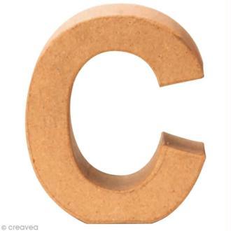 Lettre en carton C qui tient debout  - 17,5 x 16 x 5,5 cm