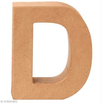 Lettre en carton D qui tient debout  - 17,5 x 14,5 x 5,5 cm