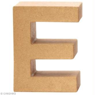 Lettre en carton E qui tient debout  - 17,5 x 13 x 5,5 cm