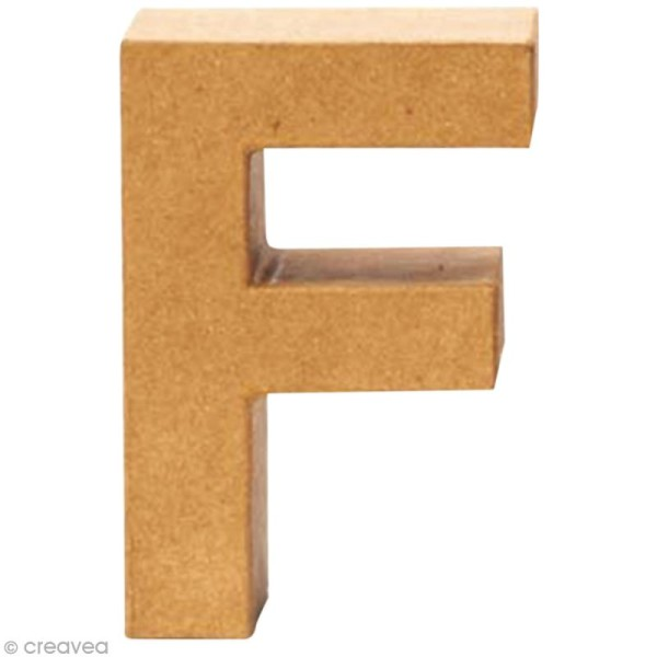 Lettre en carton F qui tient debout  - 17,5 x 11,5 x 5,5 cm - Photo n°1