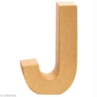 Lettre en carton J qui tient debout  - 17,5 x 11 x 5,5 cm