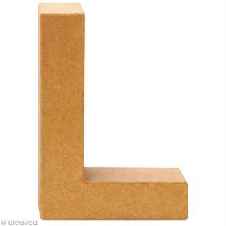 Lettre en carton L qui tient debout  - 17,5 x 12,5 x 5,5 cm