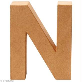 Lettre en carton N qui tient debout  - 17,5 x 14 x 5,5 cm