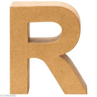 Lettre en carton R qui tient debout  - 17,5 x 15,5 x 5,5 cm