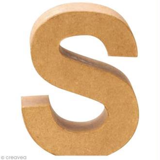 Lettre en carton S qui tient debout  - 17,5 x 14,5 x 5,5 cm