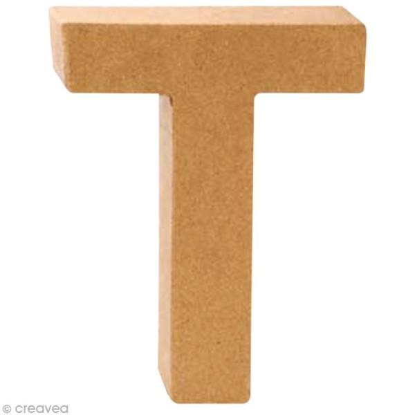 Lettre en carton T qui tient debout  - 17,5 x 13,5 x 5,5 cm - Photo n°1