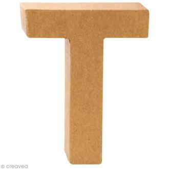 Lettre en carton T qui tient debout  - 17,5 x 13,5 x 5,5 cm