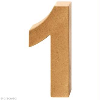 Chiffre en carton 1 qui tient debout - 17,5 x 8 cm