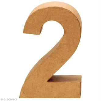 Chiffre en carton 2 qui tient debout - 17,5 x 12 cm