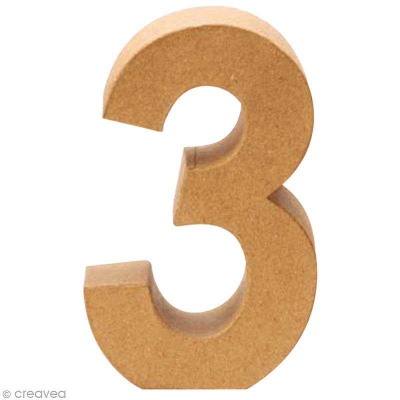 Chiffre en carton 3 qui tient debout 17 5 x 11 5 cm lettre en carton 20 cm creavea - Chiffre en carton 3d ...