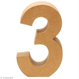 Chiffre en carton 3 qui tient debout - 17,5 x 11,5 cm