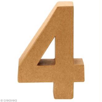 Chiffre en carton 4 qui tient debout - 17,5 x 12,5 cm
