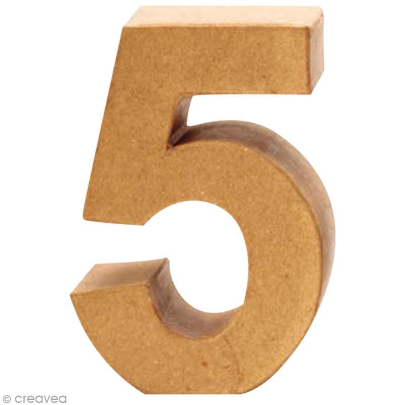 Chiffre en carton 5 qui tient debout 17 5 x 12 cm lettre en carton 20 cm creavea - Chiffre en carton 3d ...