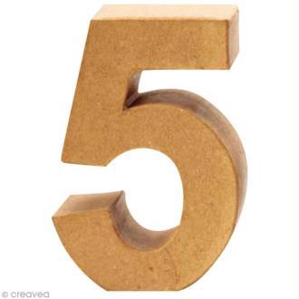 Chiffre en carton 5 qui tient debout - 17,5 x 12 cm