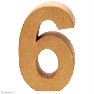 Chiffre en carton 6 qui tient debout - 17,5 x 11,5 cm