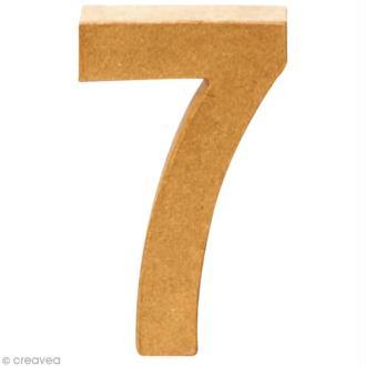 Chiffre en carton 7 qui tient debout - 17,5 x 11,5 cm