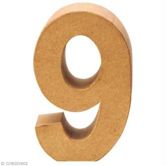 Chiffre en carton 9 qui tient debout - 17,5 x 11,5 cm