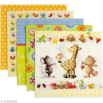 Serviette en papier Enfant - Little friends - Assortiment 5 x 2 pcs