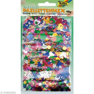 Mix de paillettes - Formes diverses multicolores - 40 g