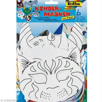 Assortiment de masques à décorer pour enfant - 6 masques animaux
