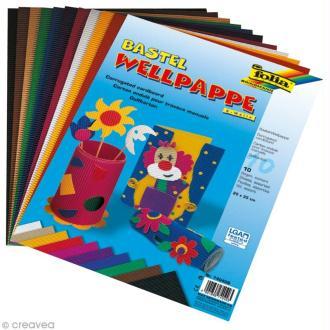 Carton ondulé 22 x 35 cm - Assortiment de couleurs - 10 pcs