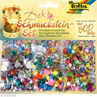 Set de pierres décoratives et perles multicolores - 800 pcs