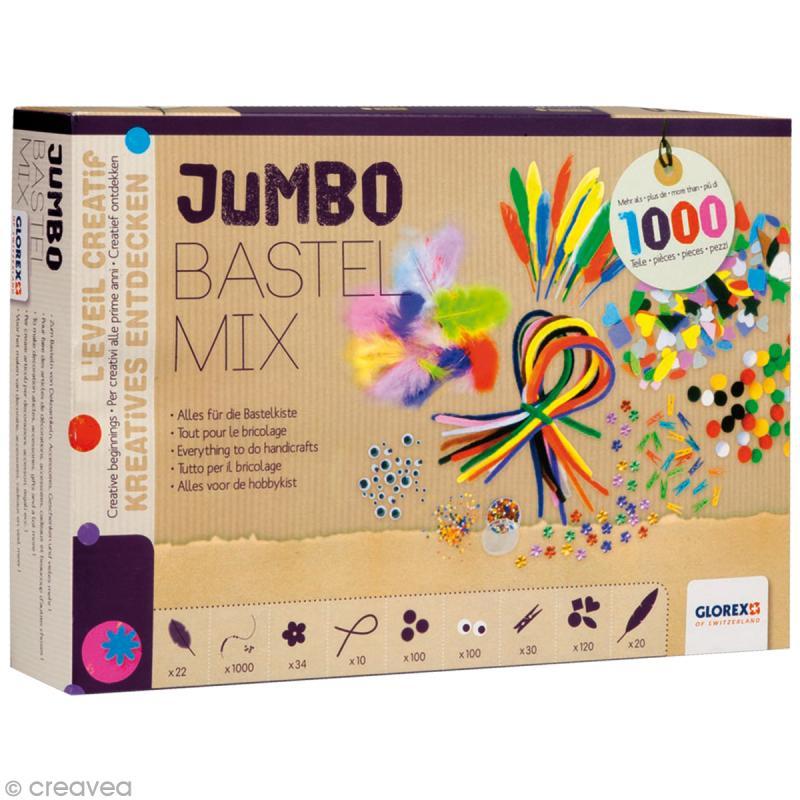 kit enfant jumbo bastel mix plus de 1000 accessoires cr atifs jeux cr atifs de 2 5 ans. Black Bedroom Furniture Sets. Home Design Ideas